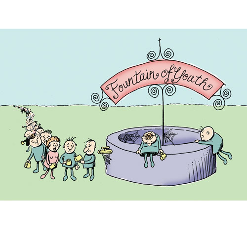 Fountain of youth- magazine illustration about a city whose median age is steadily climbing